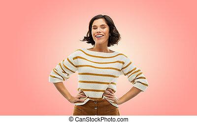 hände, woman, lächelt, hüften, pullover