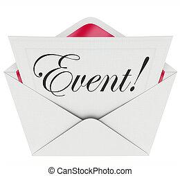 händelse, ord, inbjudan, kuvert, speciell, ingång,...