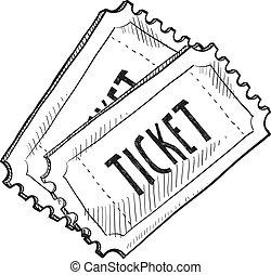 händelse, skiss, biljett
