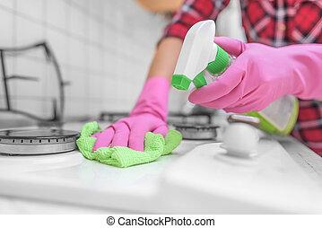 händer i handskar, ar, tvättat, den, gas, stove.