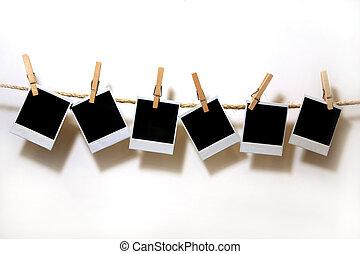 hängande, årgång, polaroidkamera, papper, vita