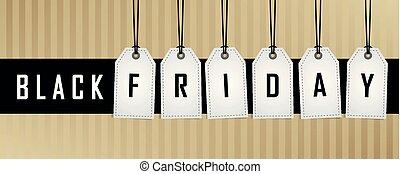 hängande, befordran, fredag, svart, etikett