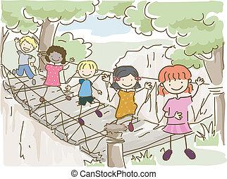 hängande, bro, äventyr