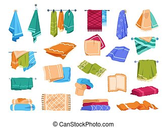hängande, illustration, eller, skena, bad, vektor, towels., ...