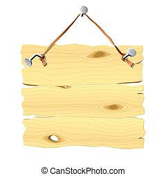hängande, spika, trä, skylt