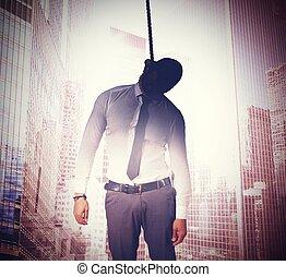 hängen, für, bankrott