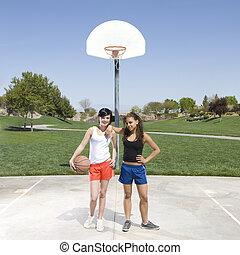hängen, jungendliche, basketballgericht, heraus