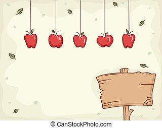 hängender , brett, äpfel