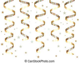 hängender , gold, party, geschenkband