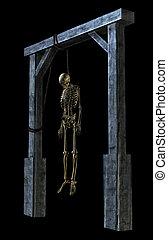 hängender , skelett, -, auf, schwarz