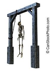 hängender , skelett, -, weiß