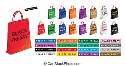 hänger lös, inköp, färgrik, fredag, papper, svart, speciell