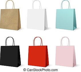 hänger lös, papper, sätta, gåva, färgrik