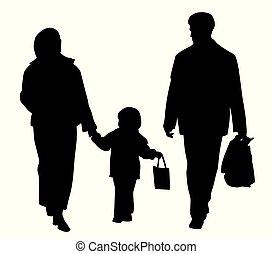 hänger lös, vandrande, inköp, familj, lycklig