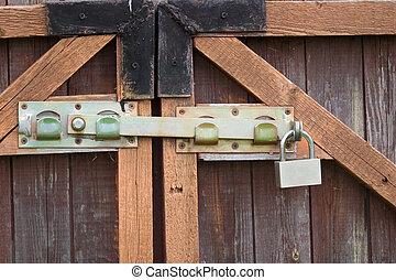 hänglås, låsbar, hinder