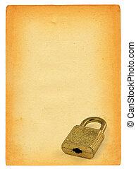 hänglås, papper, gammal, sida