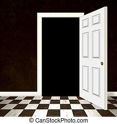hänrycka, dörr, öppnat