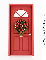 hänrycka, krans, dörr, jul