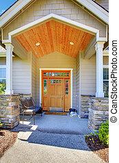 hänrycka, portal, house., beige, lyxvara, trevlig
