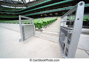 hänrycka, ror, mycket, sittplatser, tribunes, plastisk, hoplagd, stor, stadion, grön, tom