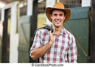 häst, bärande, tyglar, cowboy