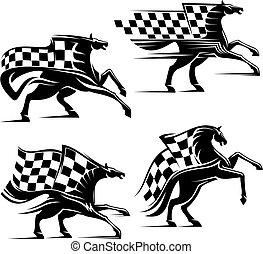 häst, brocket, ikonen, flag., sport, tävlings-