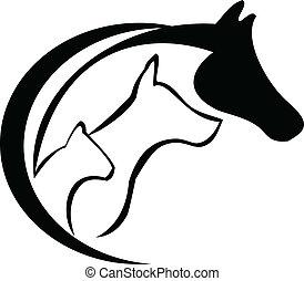 häst, katt, och, hund