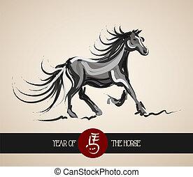 häst, kinesisk, år, bakgrund, färsk, 2014
