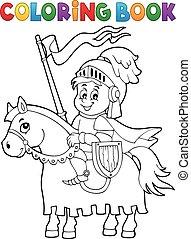 häst, kolorit, riddare, 1, tema, bok