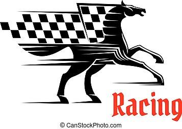 häst, rutigt flagg, lopp, tävlings-, ikon