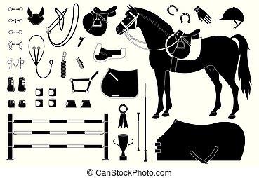 häst, sätta, ryttare, utrustning, vektor, svart