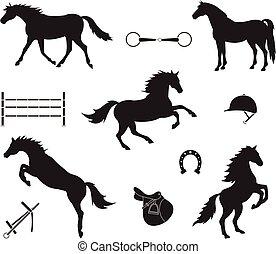 häst, sätta, silhuett, utrustning, vektor, svart