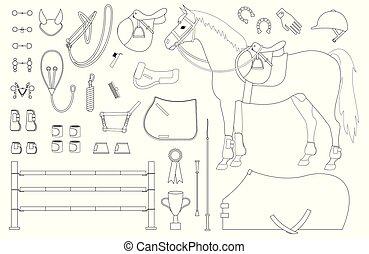 häst, sätta, skissera, utrustning, vektor, ryttare