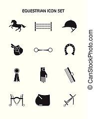 häst, sätta, utrustning, vektor, svart, ikon
