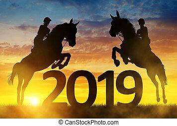 häst, silhuett, hoppning, år, färsk, 2019., ryttare