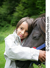 häst, stryk, barn