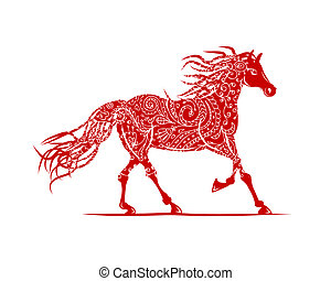 häst, symbol, prydnad, år, blommig, 2014, din, röd, design.