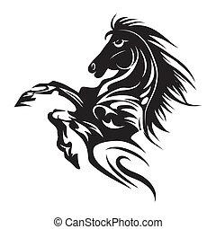 häst, tatuera, symbol, för, design, isolerat, vita, emblem,...