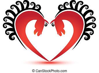 hästar, hjärta gestalta, logo, vektor