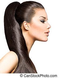 hästsvans, hairstyle., skönhet, brunett, sätt modellera, flicka