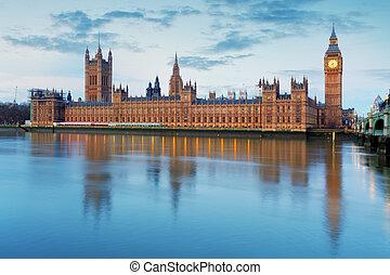 häuser parlaments, -, big ben, england, vereinigtes königreich