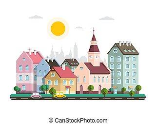 häusser, in, city., vektor, wohnung, design, architektur, gebäude, in, town., städtisch, landschaft.