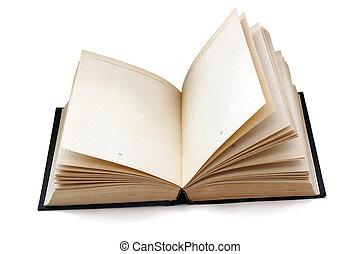 hävdvunnen, öppen beställ, med, tom, sidor, isolerat, med,...