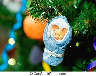 hävdvunnen, nytt år, dekoration, för, jul, träd., figur, av,...