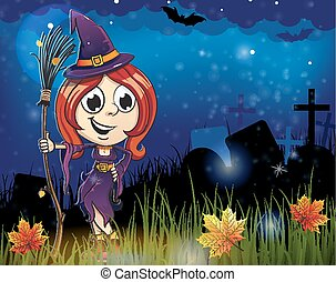 häxa, halloween, kyrkogård