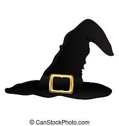 häxa hatt, för, halloween