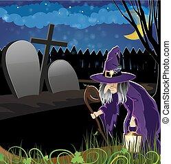 häxa, kyrkogård, ond