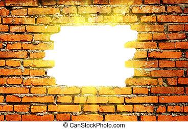 hål, genom, solljus