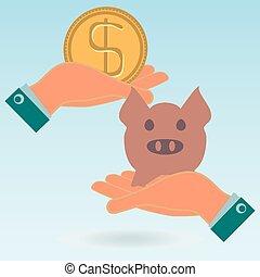 hålla, bank., guld, dollar, exchange., gris, nasse, pengar., peng strand, investering, hands., insättning