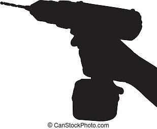 hålla, cordless drill, hand, silhuett